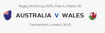 Rugby World Cup RWC 2015 Australia vs Wales Pool A Match 35 Live Score Result Team Squad