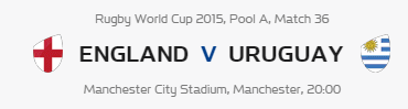 Rugby World Cup RWC 2015 England vs Uruguay Pool A Match 36 Live Score Result Team Squad