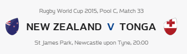 Rugby World Cup RWC 2015 New Zealand vs Tonga Pool C Match 33 Live Score Result Team Squad