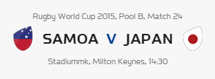 Rugby World Cup RWC 2015 Samoa vs Japan Pool B Match 24 Live Score Result Team Squad
