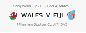 Rugby World Cup RWC 2015 Wales vs Fiji Pool A Match 21 Live Score Result Team Squad