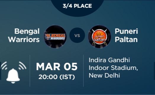Pro Kabaddi 3 Match 3/4 Place Kolkata vs Pune Live Highlights Result Score Team Squad