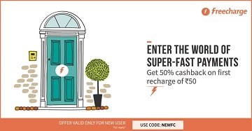 Flat 50% cashback on Recharge on Freecharge