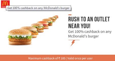100 % Cashback on Mcdonald's/McD's Burger-Discount Coupons